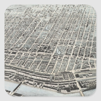 Vintage Pictorial Map of Manchester NH (1876) Square Sticker