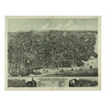 Vintage Pictorial Map of Marblehead MA (1882) Poster