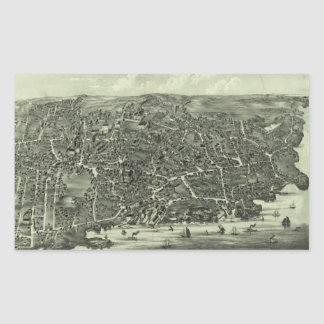 Vintage Pictorial Map of Marblehead MA (1882) Rectangle Sticker