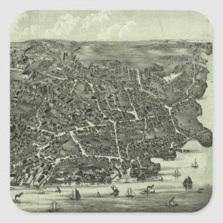 Vintage Pictorial Map of Marblehead MA (1882) Square Stickers