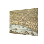 Vintage Pictorial Map of Memphis Tennessee (1870) Stretched Canvas Print