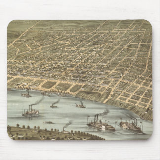 Vintage Pictorial Map of Memphis Tennessee (1870) Mouse Mat