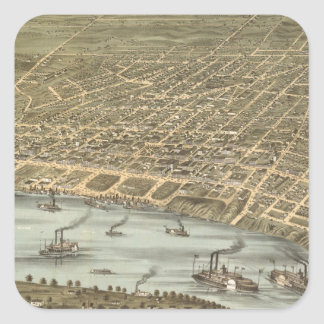Vintage Pictorial Map of Memphis Tennessee (1870) Square Sticker