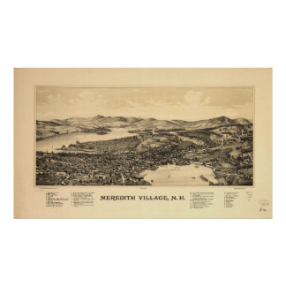 Vintage Pictorial Map of Meredith NH (1899) Poster