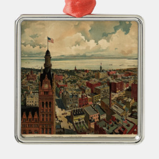 Vintage Pictorial Map of Milwaukee WI (1898) Christmas Ornament