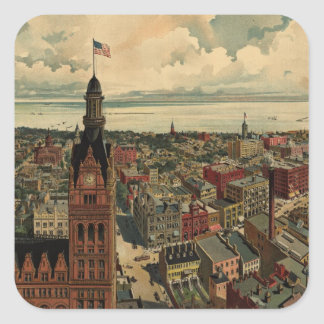 Vintage Pictorial Map of Milwaukee WI (1898) Square Sticker