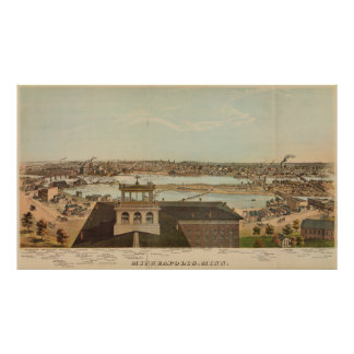Vintage Pictorial Map of Minneapolis MN (1874) Poster