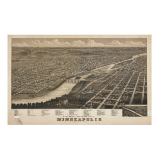 Vintage Pictorial Map of Minneapolis MN (1879) Poster