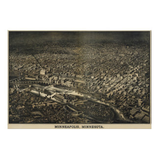 Vintage Pictorial Map of Minneapolis MN (1885) Poster
