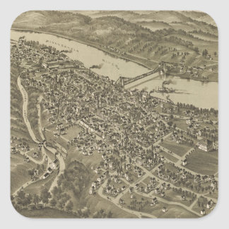 Vintage Pictorial Map of Morgantown WV (1897) Square Sticker