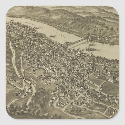 Vintage Pictorial Map of Morgantown WV (1897) Stickers