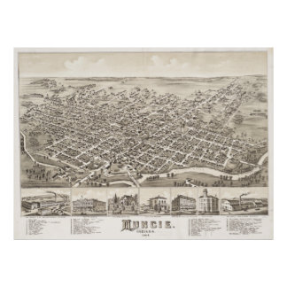 Vintage Pictorial Map of Muncie Indiana (1884) Poster