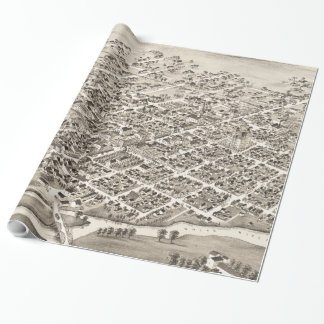 Vintage Pictorial Map of Muncie Indiana (1884) Wrapping Paper