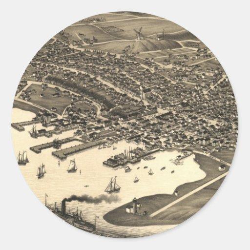 Vintage Pictorial Map of Nantucket (1881) Round Sticker