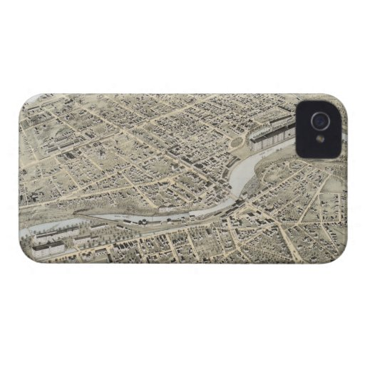 Vintage Pictorial Map of Nashua NH (1875) iPhone 4 Cases