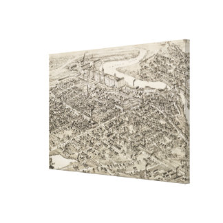 Vintage Pictorial Map of Nashua NH (1883) Canvas Print