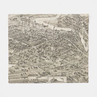 Vintage Pictorial Map of Nashua NH (1883) Fleece Blanket