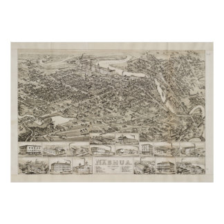 Vintage Pictorial Map of Nashua NH (1883) Poster