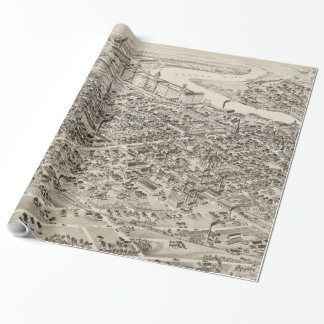 Vintage Pictorial Map of Nashua NH (1883) Wrapping Paper