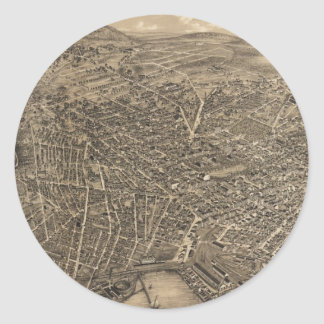 Vintage Pictorial Map of New Haven CT (1879) Round Sticker