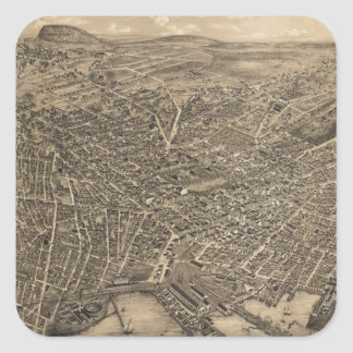 Vintage Pictorial Map of New Haven CT (1879) Square Sticker