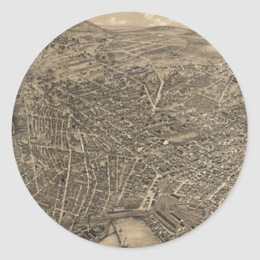 Vintage Pictorial Map of New Haven CT (1879) Sticker