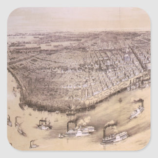 Vintage Pictorial Map of New Orleans (1851) Square Sticker