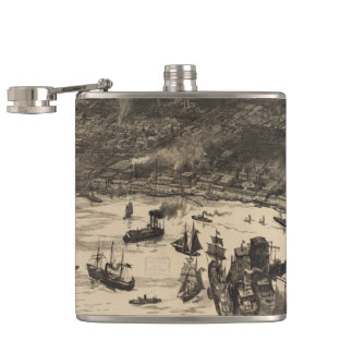 Vintage Pictorial Map of New Orleans (1884) Hip Flask