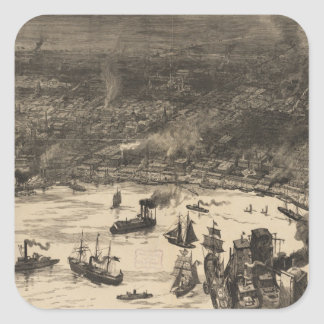 Vintage Pictorial Map of New Orleans (1884) Square Sticker