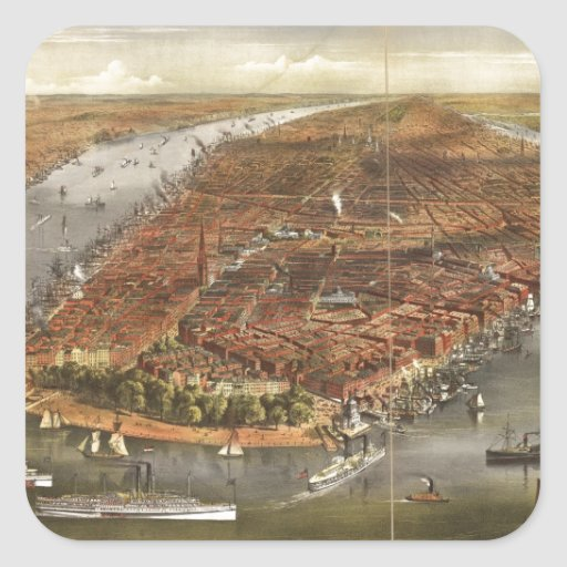 Vintage Pictorial Map of New York City (1870) Square Sticker