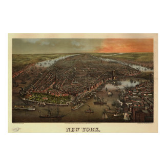 Vintage Pictorial Map of New York City (1873) Print