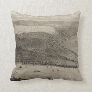 Vintage Pictorial Map of New York City (1876) Cushion