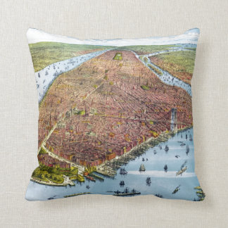 Vintage Pictorial Map of New York City (1879) Cushion
