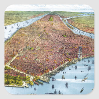 Vintage Pictorial Map of New York City (1879) Sticker