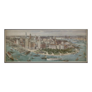 Vintage Pictorial Map of New York City (1914) Poster