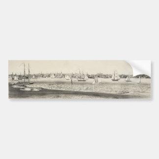 Vintage Pictorial Map of Newport RI (1860) Bumper Sticker