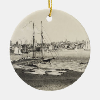 Vintage Pictorial Map of Newport RI (1860) Christmas Ornament