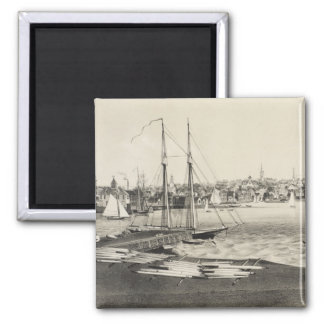 Vintage Pictorial Map of Newport RI (1860) Square Magnet