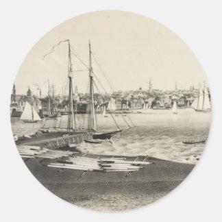 Vintage Pictorial Map of Newport RI (1860) Round Sticker