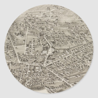 Vintage Pictorial Map of Newton MA (1878) Classic Round Sticker