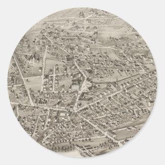 Vintage Pictorial Map of Newton MA (1878) Round Sticker