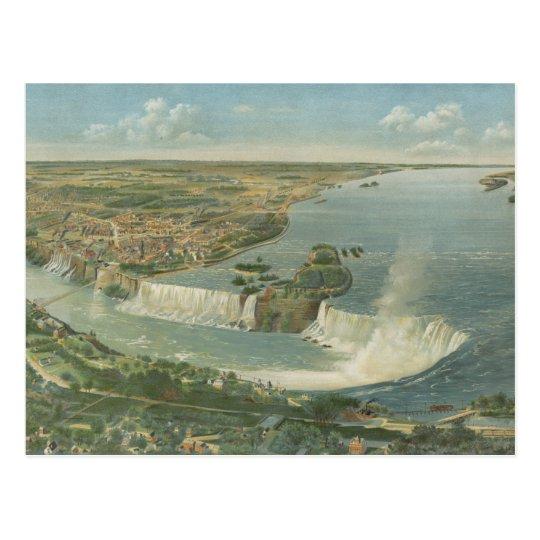 Vintage Pictorial Map of Niagara Falls NY (1893) Postcard