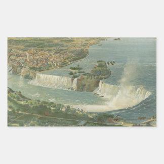 Vintage Pictorial Map of Niagara Falls NY (1893) Rectangular Sticker
