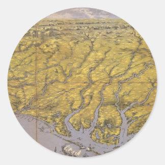 Vintage Pictorial Map of North Carolina (1861) Round Sticker