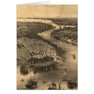 Vintage Pictorial Map of NYC and Brooklyn (1851) Card