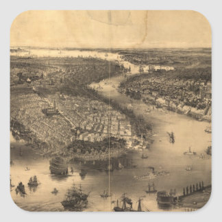 Vintage Pictorial Map of NYC and Brooklyn (1851) Square Sticker