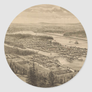 Vintage Pictorial Map of Olympia Washington (1879) Round Sticker