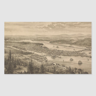 Vintage Pictorial Map of Olympia Washington (1879) Rectangle Sticker
