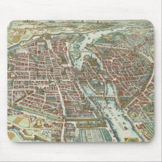 Vintage Pictorial Map of Paris (1615) Mouse Pad