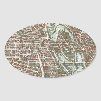 Vintage Pictorial Map of Paris (1615) Oval Sticker